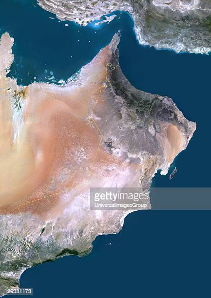 Satellite view of Oman This image was compiled from data acquired by LANDSAT 5 7 satellites Oman Middle East Asia True Colour Satellite Image With...