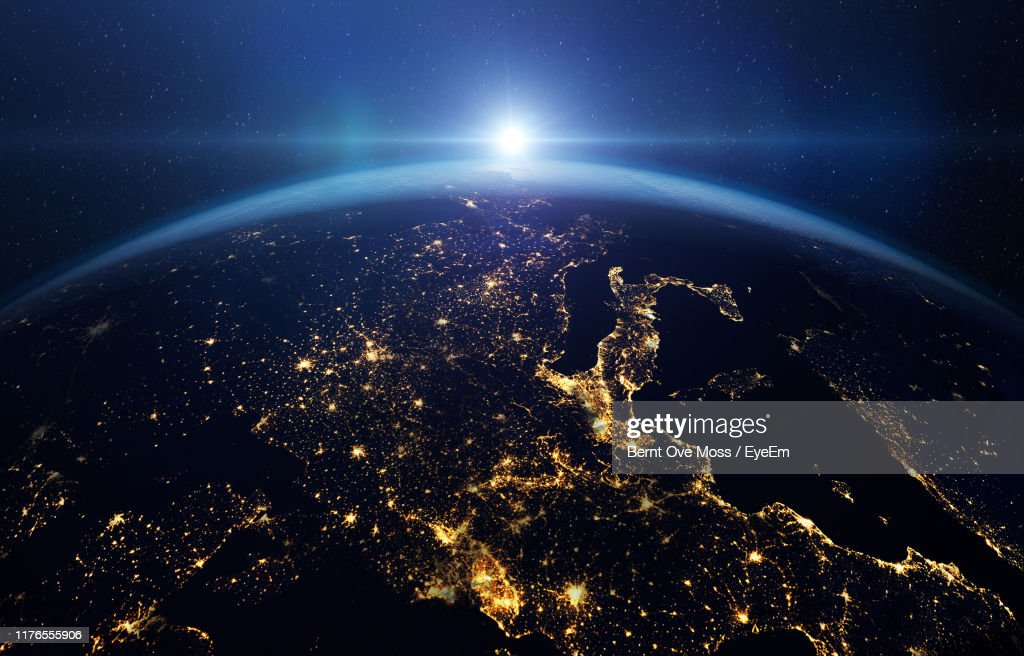 Satellite View Of Planet At Sunrise : Stock Photo