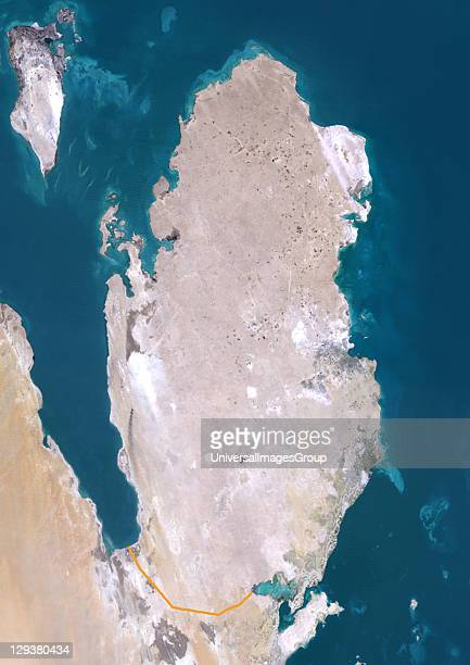 Satellite view of Qatar This image was compiled from data acquired by LANDSAT 5 7 satellites Qatar Middle East Asia True Colour Satellite Image With...