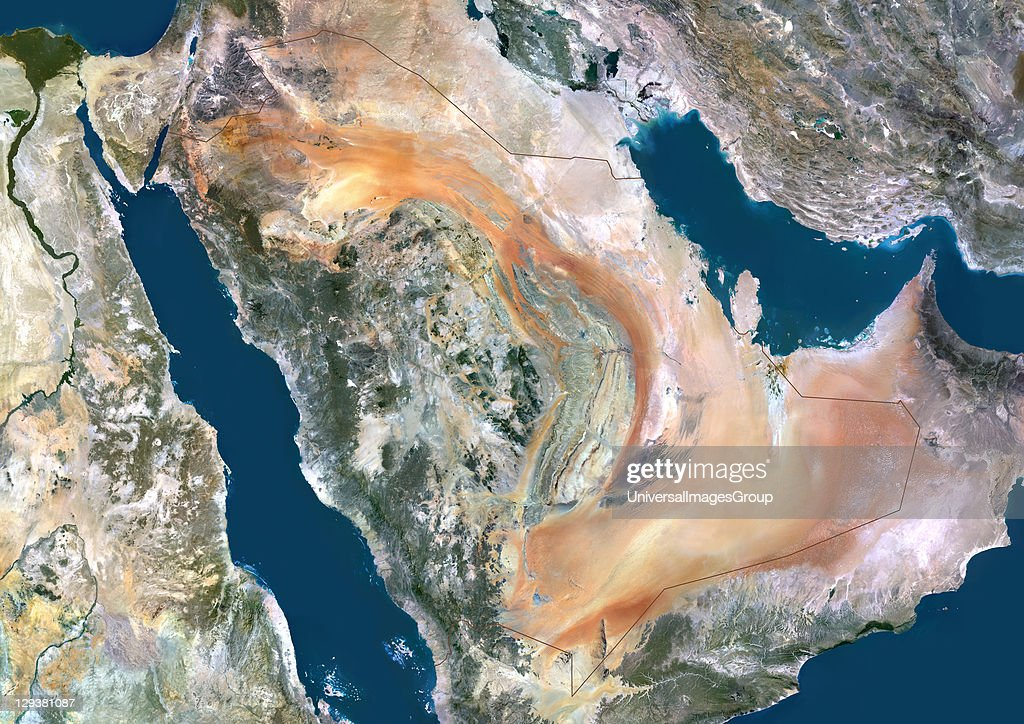 Saudi Arabia, Middle East, True Colour Satellite Image With Border : News Photo