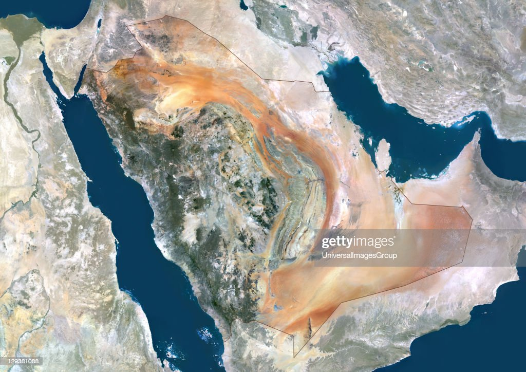 Saudi Arabia, Middle East, Asia, True Colour Satellite Image With Border And Mask : News Photo