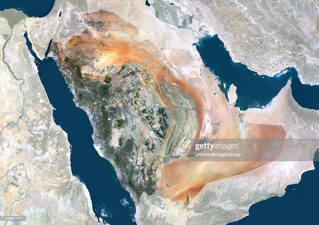 Saudi Arabia, Middle East, Asia, True Colour Satellite Image With Mask : News Photo
