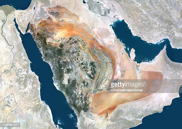 Satellite view of Saudi Arabia This image was compiled from data acquired by LANDSAT 5 7 satellites Saudi Arabia Middle East Asia True Colour...