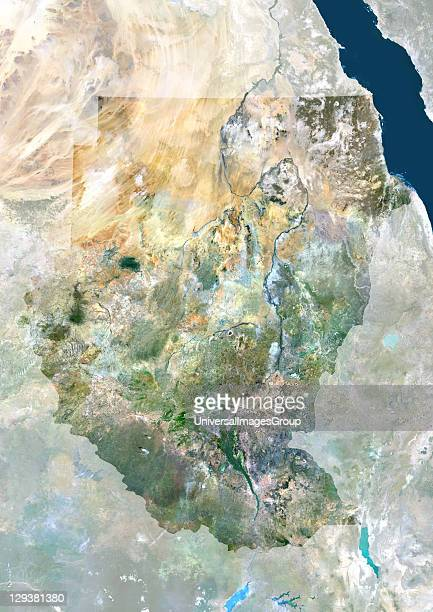 Satellite view of Sudan This image was compiled from data acquired by LANDSAT 5 7 satellites Sudan Africa True Colour Satellite Image With Mask