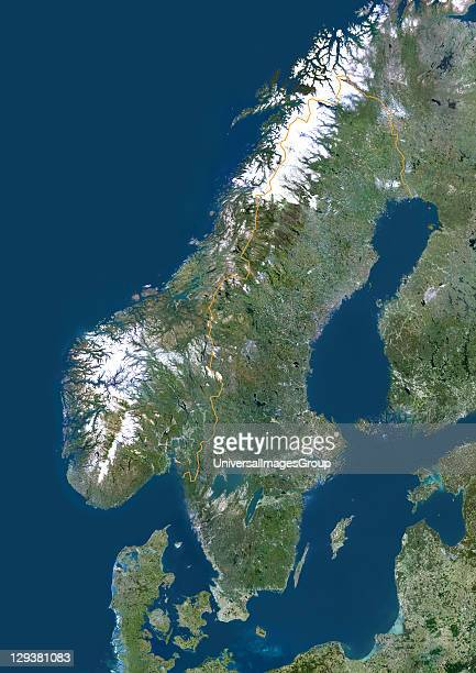 Satellite view of Sweden This image was compiled from data acquired by LANDSAT 5 7 satellites Sweden Europe True Colour Satellite Image With Border