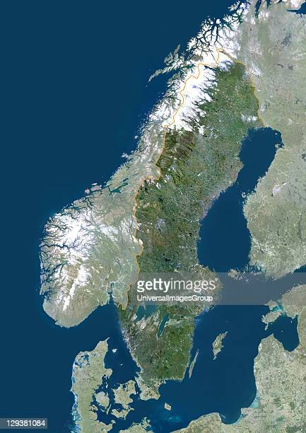 Satellite view of Sweden This image was compiled from data acquired by LANDSAT 5 7 satellites Sweden Europe True Colour Satellite Image With Border...