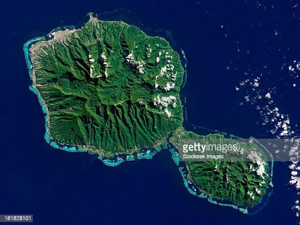 satellite view of tahiti. - タヒチ ストックフォトと画像