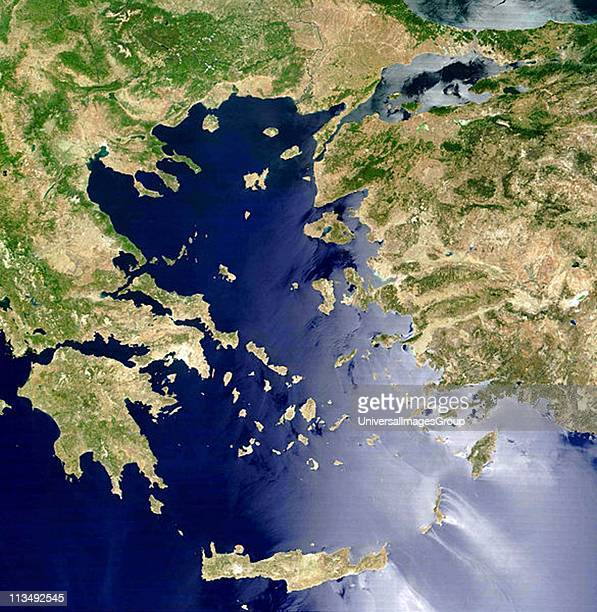 Satellite view of the Aegean Sea Crete is island at centre bottom NASA image Science