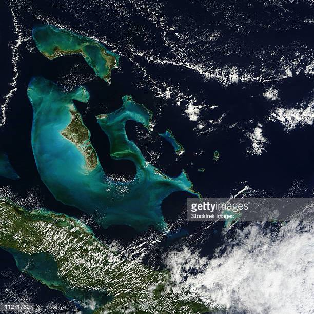 satellite view of the bahama islands in the atlantic ocean. - grand bahama stock photos and pictures