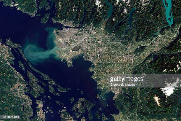 satellite view of the frasier river, british columbia, canada. - country geographic area stock pictures, royalty-free photos & images