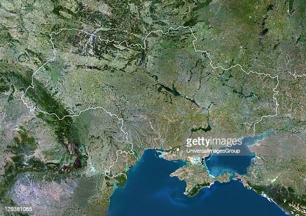 Satellite view of Ukraine This image was compiled from data acquired by LANDSAT 5 7 satellites Ukraine Europe True Colour Satellite Image With Border