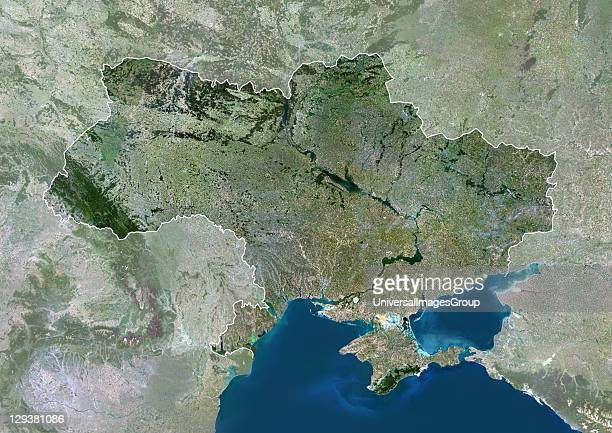 Satellite view of Ukraine This image was compiled from data acquired by LANDSAT 5 7 satellites Ukraine Europe True Colour Satellite Image With Border...