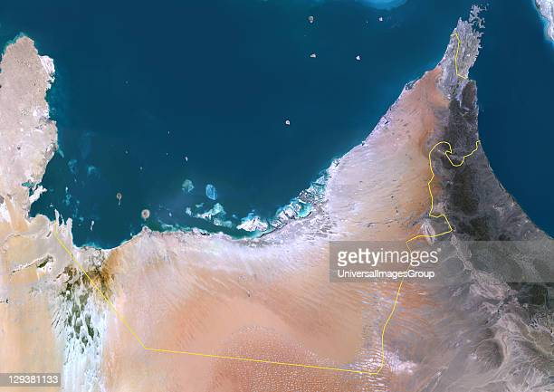 Satellite view of United Arab Emirates This image was compiled from data acquired by LANDSAT 5 7 satellites United Arab Emirates Middle East Asia...