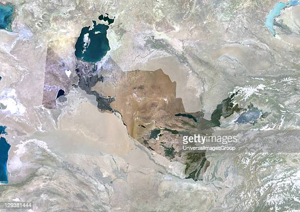 Satellite view of Uzbekistan This image was compiled from data acquired by LANDSAT 5 7 satellites Uzbekistan Asia True Colour Satellite Image With...