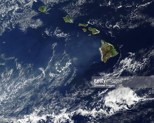 Satellite view of volcanic fog from Kilauea volcano swirling around the Hawaiian Islands.