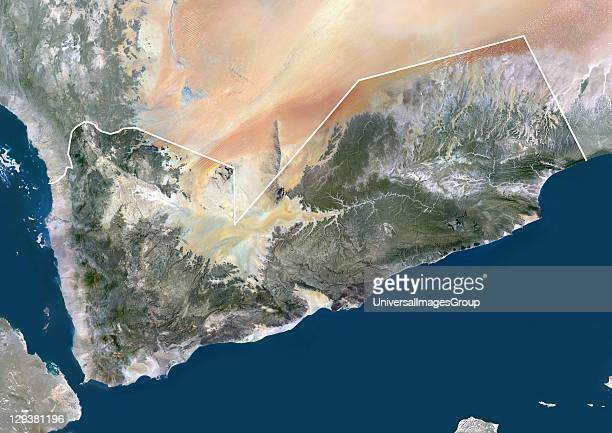 Satellite view of Yemen This image was compiled from data acquired by LANDSAT 5 7 satellites Yemen Middle East Asia True Colour Satellite Image With...