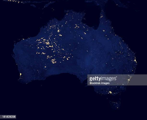 Satellite view showing the night lights of Australia.