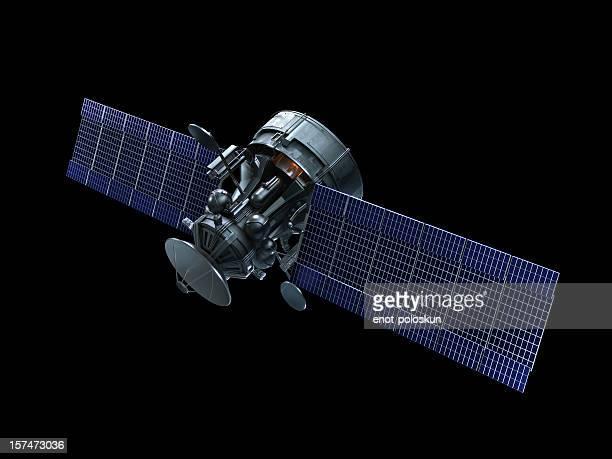 衛星に黒色の背景 - 人工衛星 ストックフォトと画像