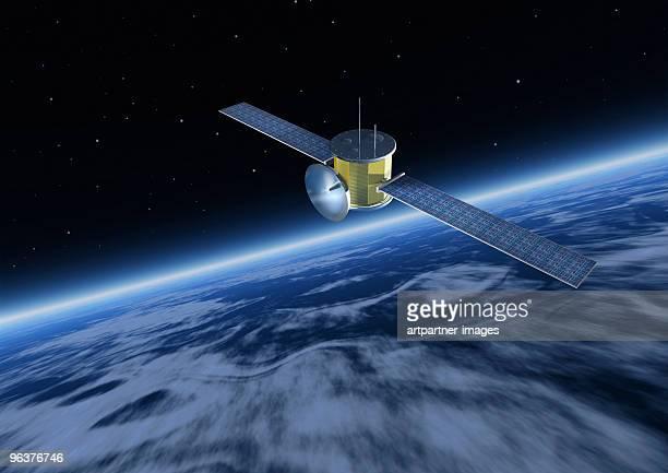 satellite with solar panels above earth  - 人工衛星 ストックフォトと画像