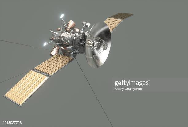 satellite with solar panels - space station stock pictures, royalty-free photos & images