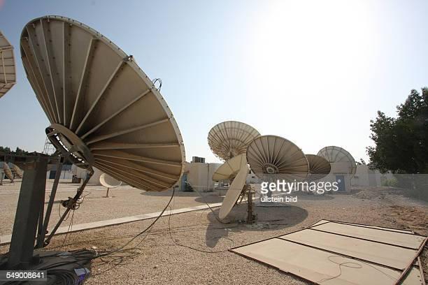 Satellitenschüsseln bei Al Dschasira Al Jazeera Fernsehsender in Doha Katar