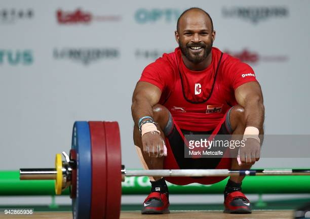 Sathish Kumar Sivalingam of India celebrates winning the Men's 77kg Weightlifting Final on day three of the Gold Coast 2018 Commonwealth Games at...