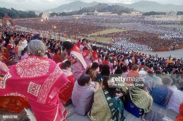 Sathya Sai Baba Godman South Indian Guru Puttaparthi Celebrating with devotees