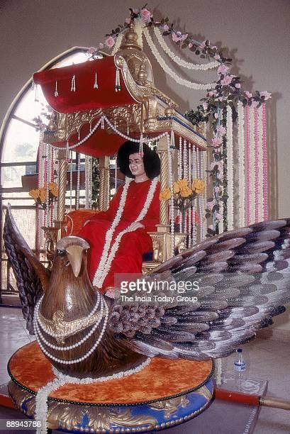 Sathya Sai Baba Godman South Indian Guru Puttaparthi sitting on Garuda