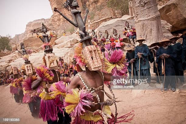 Satimbe masks dancing durind the Dogon masquerade