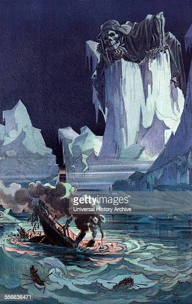 Satire Illustration depicting an ocean liner sinking amid icebergs with many passengers jumping into the sea for lack of enough lifeboats as a few...