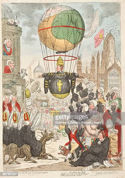 A satire on the church by cartoonist James Gillray The picture shows a large bishop trying to take off in a hotair balloon throwing his riches and...