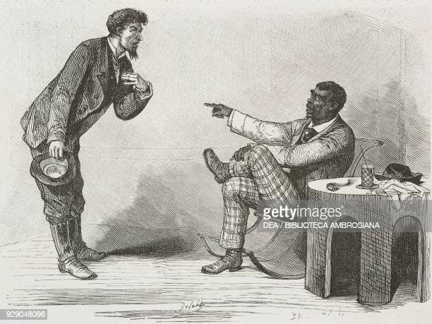 Satiric vignette depicting a discussion between a white man and a black one United States of America drawing by Bertall from a photograph from The...