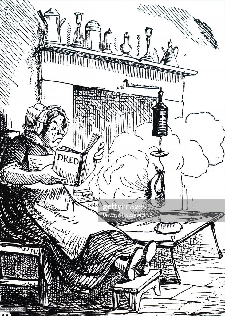 Satirical cartoon about the dire results of the spread of literacy. The cook becomes distracted by reading her book, as smoke billows out of the fire place. Dated 19th century.