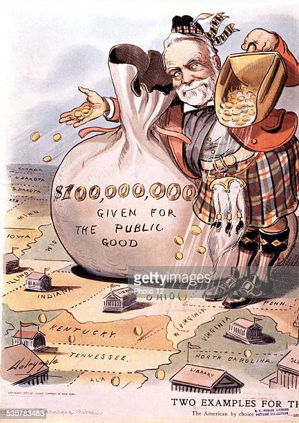Satirical cartoon against banker and businessman Andrew Carnegie United States New York Public library