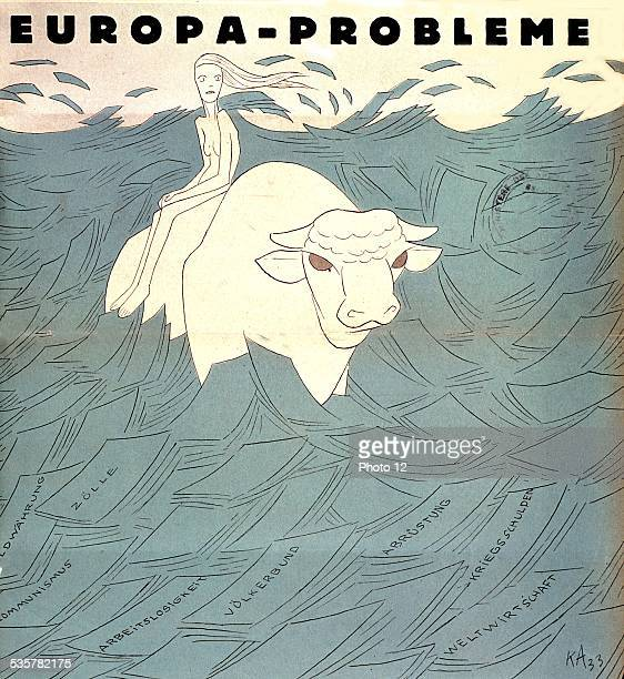 Satirical cartoon by Arnold in 'Simplicissimus' the problems of Europe Germany