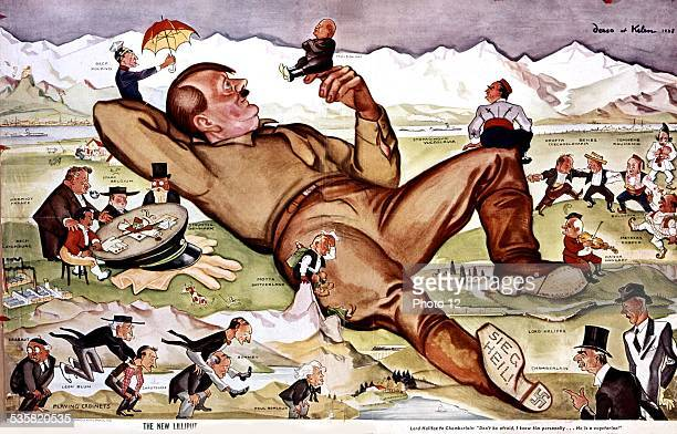Satirical cartoon by Derso et Kelen At the Munich conference Hitler playing with all the statesmen Germany Kelen Collection