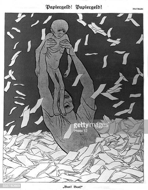 Satirical cartoon by Karl Arnold 'Paper money' Germany