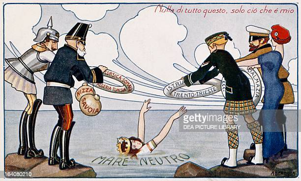Satirical cartoon dedicated to Italian neutrality drawing by Luigi Bertelli Italy 20th century