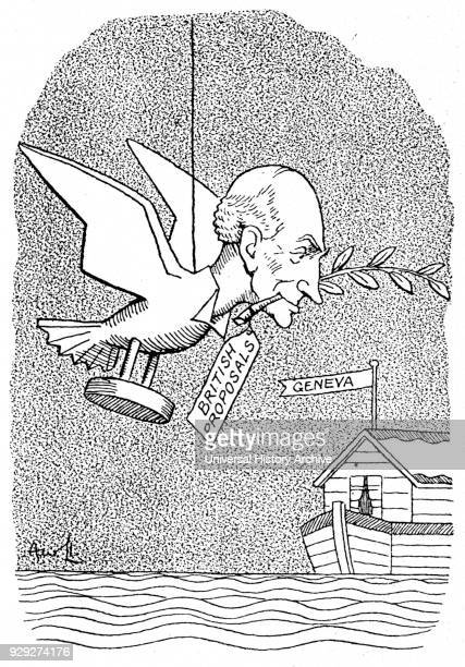 Satirical cartoon depicting John Allsebrook Simon 1st Viscount Simon a British politician and foreign secretary delivering the British proposals to...