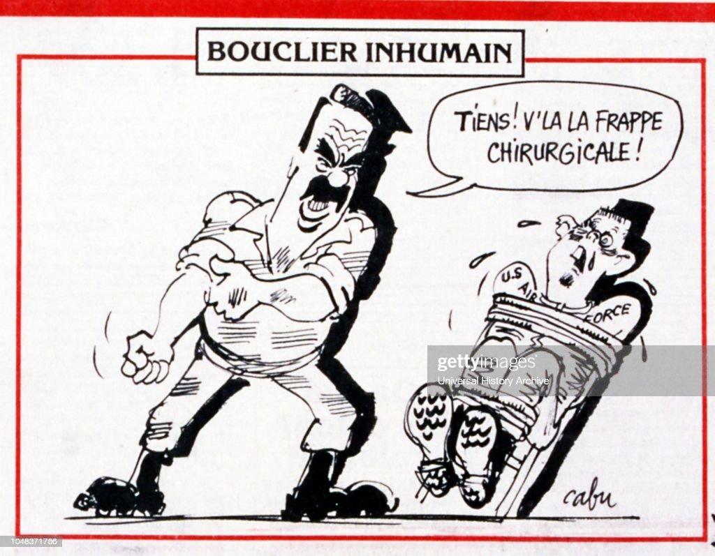 Satirical Cartoon In A French Newspaper Depicting Saddam Hussein