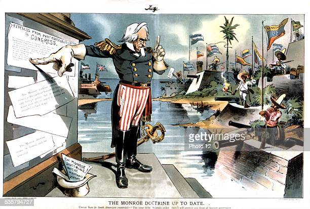 Satirical cartoon in 'Judge' The Monroe doctrine applied to Latin America under certain conditions January 1903 United States Washington Library of...