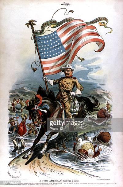Satirical cartoon in 'Judge' Theodore Roosevelt and the Rough Riders SpanishAmerican war Washington Library of Congress