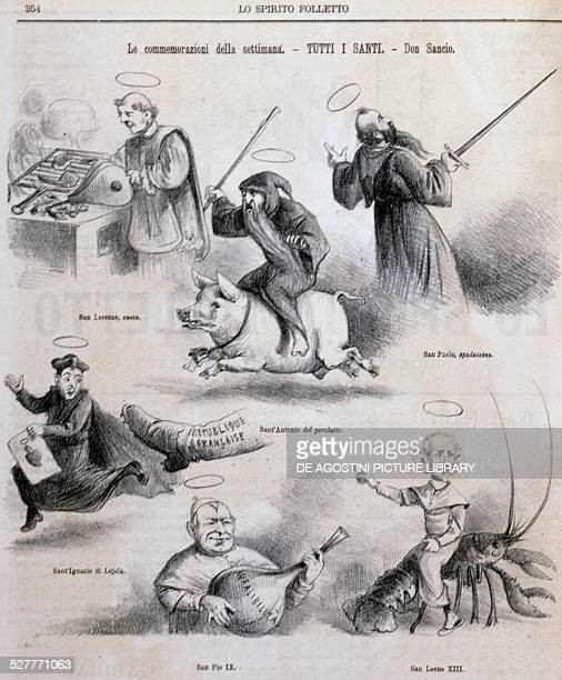 Satirical cartoon on clerical Italy and its saints illustration from the satirical newspaper Spirito Folletto 4 November 1880 Italy 19th century