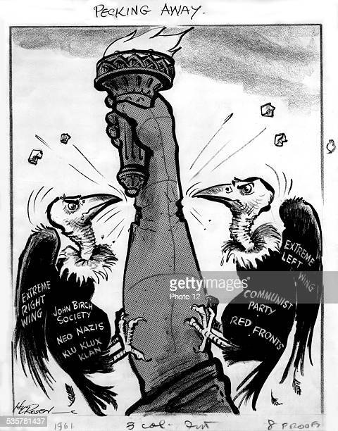 Satirical cartoon, the Statue of Liberty attacked by the far right and the far left, United States Washington, Library of Congress, .