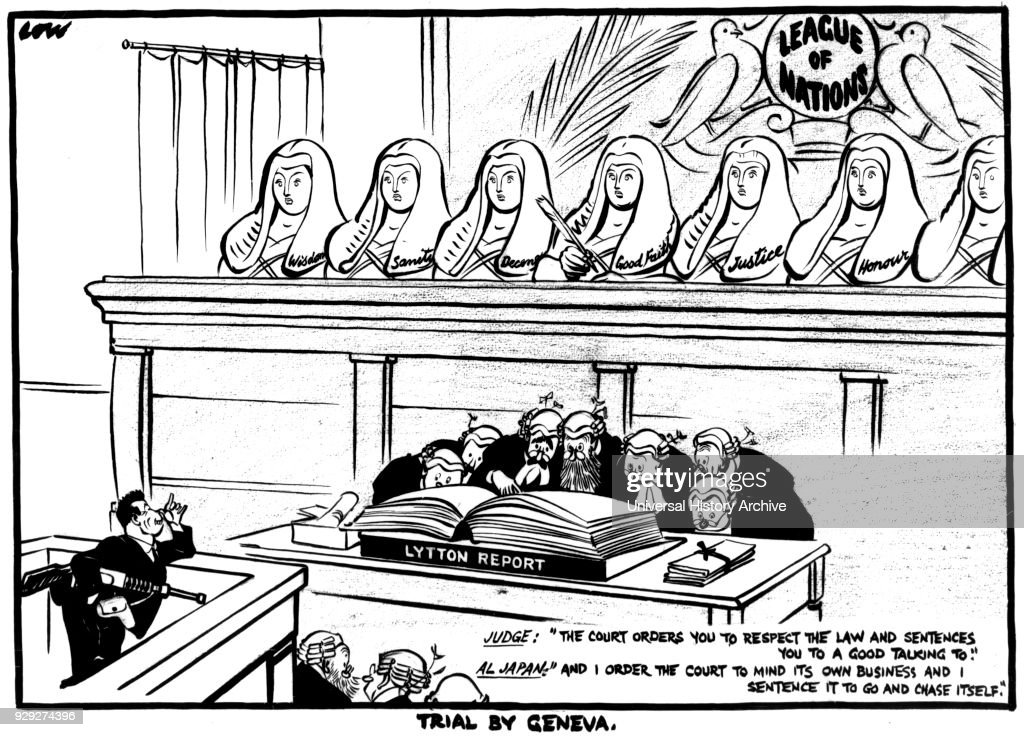 Satirical Cartoon Titled Trial By Geneva By David Low A New