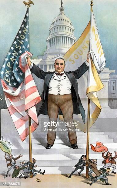 Satirical cartoon with President W McKinley 1900
