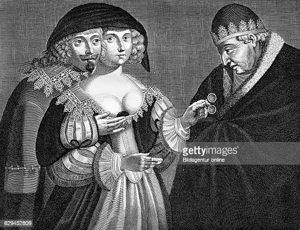 Satirical depiction of an adulterous woman and the cuckold a husband whose woman is unfaithful anonymous french copper engraving from the 17th century