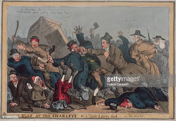 A satirical English cartoon depicts Sir Robert Peel fighting a group of night watchmen The cartoon refers to Peel's reorganization of the London...