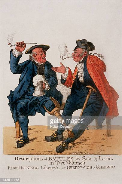 Satirical English cartoon of veteran sailors exchanging tales in London 1801
