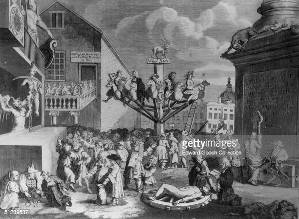 1720 A satirical engraving by William Hogarth depicting the South Sea Bubble a financial scandal involving the East India Company and the Bank of...